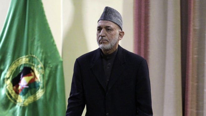 Afghan President Hamid Karzai addesses military officers in Kabul, Afghanistan, on Feb. 16.