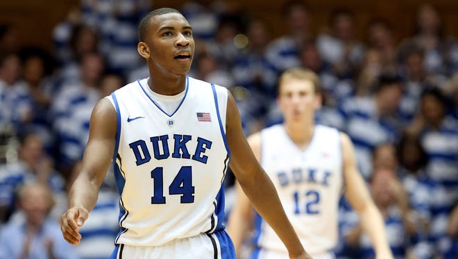 Rasheed Sulaimon reacts after a basket against the Boston College Eagles at Cameron Indoor Stadium on February 24, 2013 in Durham, North Carolina.