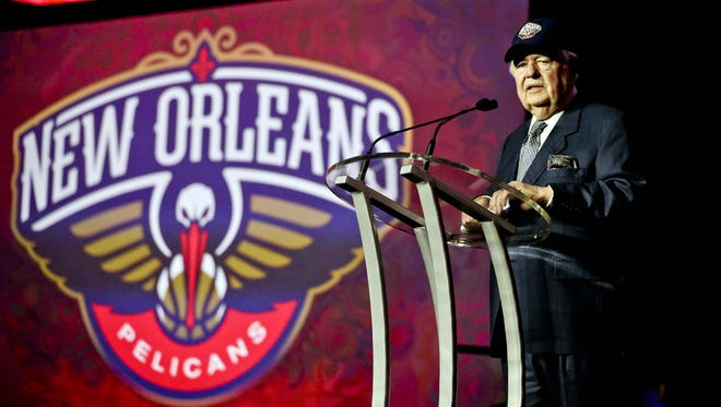 Owner Tom Benson announces the New Orleans Hornets' nickname switch to Pelicans during a Jan. 24 news conference.
