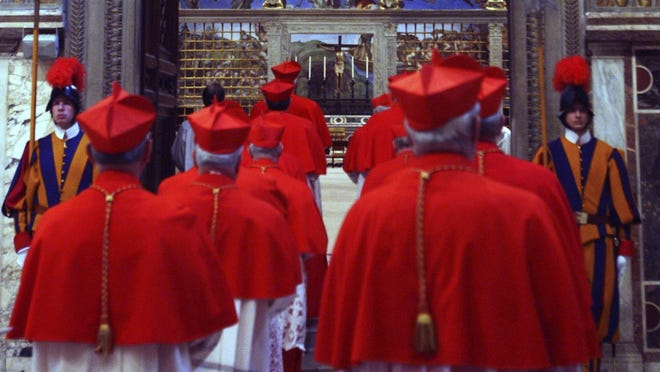 Cardinals are shown entering the Sisting Chapel in 2005 when they elected Pope Benedict. Some time next month, the next conclave will choose his successor.
