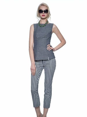 Navy sleeveless textured shell, $69.50, and large gingham skinny pant, $98.