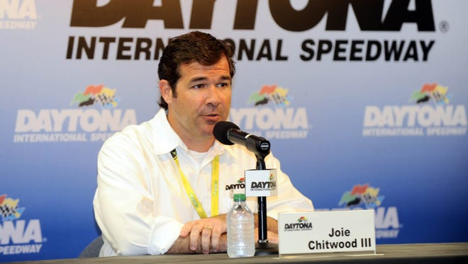 Daytona International Speedway president Joie Chitwood sat in Sections H and I of the Campbell Grandstands for the first 30 laps of Sunday's Daytona 500.