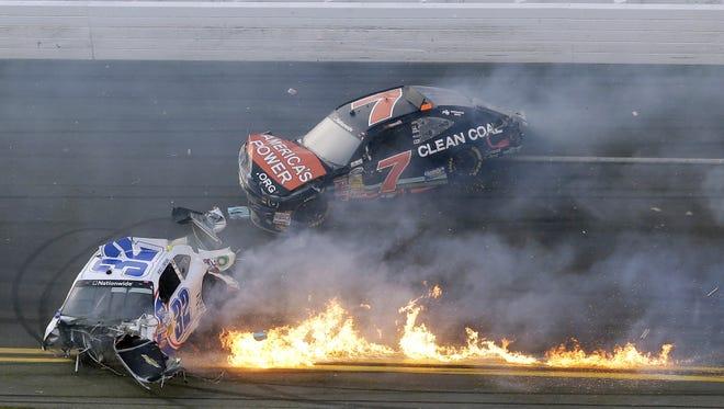 A crash injured spectators Saturday at Daytona International Speedway.