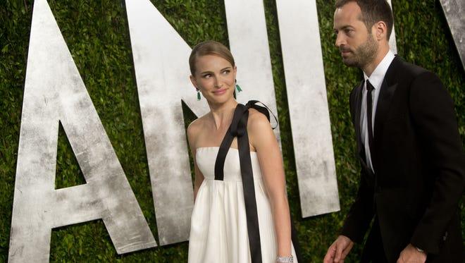 Natalie Portman and Benjamin Millipied arrive for the 2013 Vanity Fair Oscar Party.