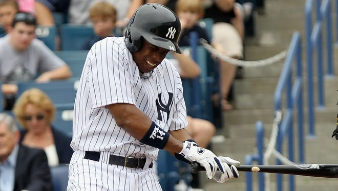 Yankees outfielder Curtis Granderson was hit in the forearm by a pitch Sunday from Toronto's J.A. Happ. The broken bone will sideline Granderson for approximately 10 weeks.