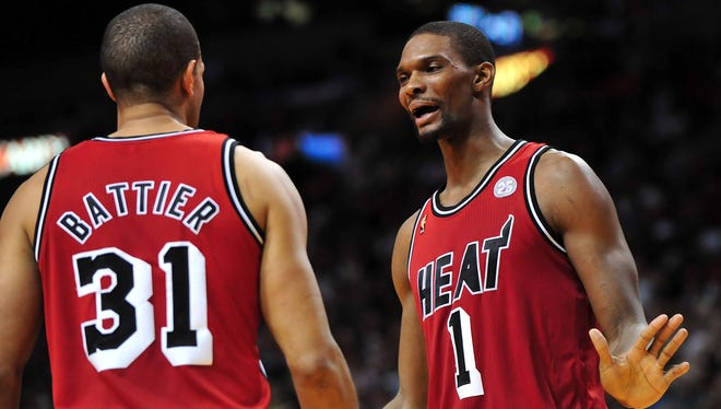 Chris Bosh tells Shane Battier he cannot believe USA TODAY Sports didn't give the Heat the top spot in the NBA power rankings.