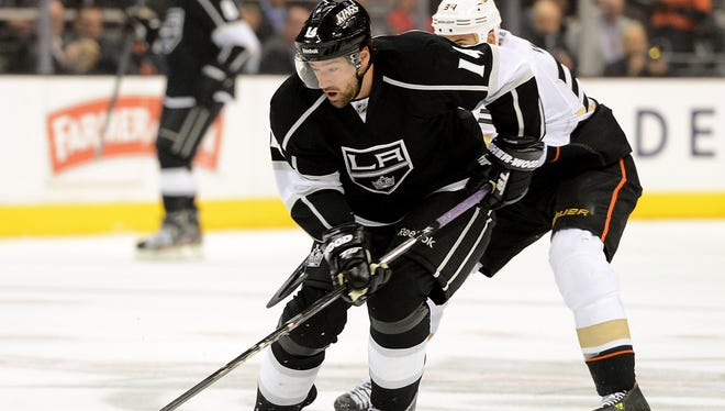 Los Angeles Kings center Anze Kopitar skates with the puck during the first period against the Anaheim Ducks. Kopitar had three assists in a 5-2 win.
