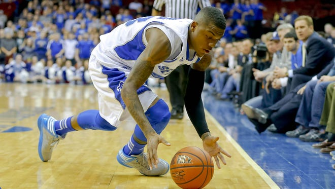 Seton Hall Pirates guard/forward Fuquan Edwin (23) retrieves loose ball during the second half against the Villanova Wildcats at the Prudential Center.