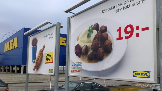 Advertising for IKEA meat balls in the parking lot at an Ikea store in Malmo, Sweden. The company has withdrawn its meatballs from sale after horse meat was found in the product by Czech authorities