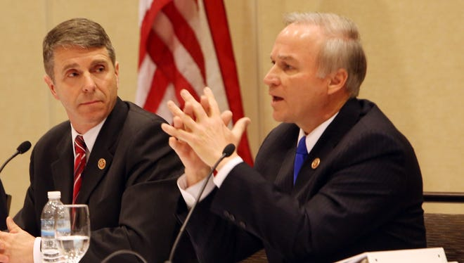 Congressmen Rob Wittman, left,  and Randy Forbes are raising concerns about the impact of the sequester on the Defense Department.