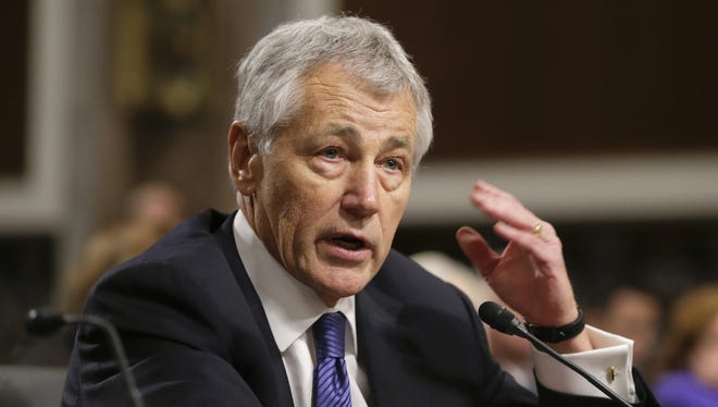 Secretary of Defense nominee Chuck Hagel testifies before the Senate Armed Services Committee during his confirmation hearing on Capitol Hill in January.