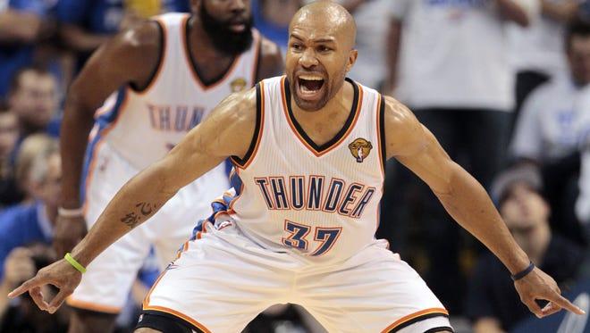 Derek Fisher (37) practiced Thursday with Oklahoma City.