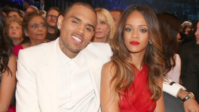 Singers Chris Brown and Rihanna at the Grammy Awards.
