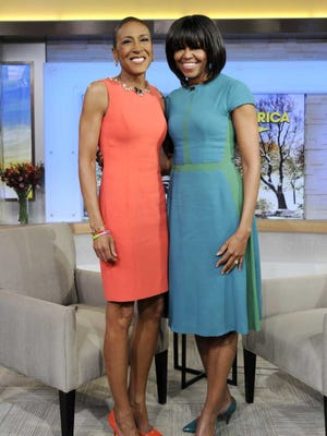 First lady Michelle Obama with Robin Roberts during a taping of 'Good Morning America' last week.