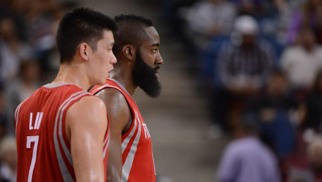 Guards Jeremy Lin, left, and James Harden are primarily responsible for the Rockets' fast pace.