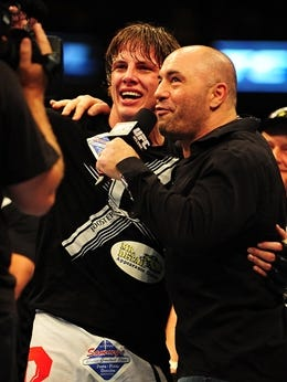 Matt Riddle celebrates defeating Chris Clements (not pictured) welterweight bout of UFC 149 at the Scotiabank Saddledome.