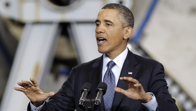 President Obama during a speech about automatic defense budget cuts on Feb. 26, at Newport News Shipbuilding in Newport News, Va.