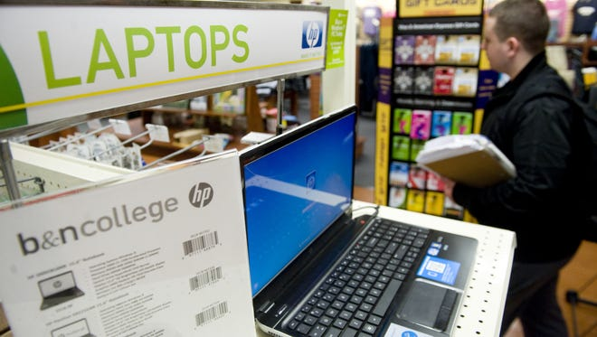 Laptops and gift cards for sale are displayed in Camden County College's Blackwood Campus Bookstore on Feb. 18, 2013.