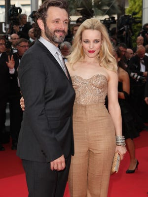 Michael Sheen and Rachel McAdams arrive for the screening of 'Sleeping Beauty' at the 64th international film festival in Cannes.