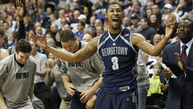 Georgetown Hoyas forward Mikael Hopkins reacts after a play against the Connecticut Huskies during the second half at Gampel Pavilion.