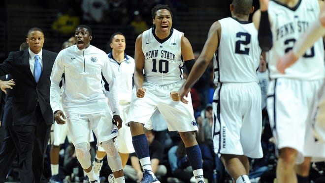 Penn State Nittany Lions players celebrate during the second half against the Michigan Wolverines at the Bryce Jordan Center.