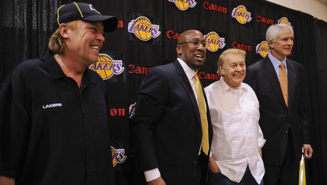 Late Lakers owner Jerry Buss was around for former coach Mike Brown's hiring but he was sick by the start of this season, when Brown was fired after a 1-4 start.