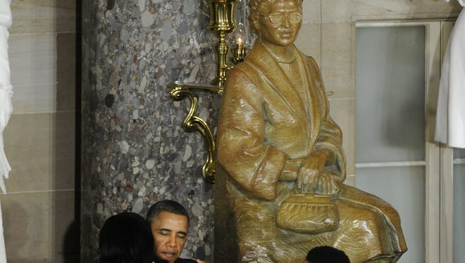 President Obama at the unveiling of the Rosa Parks statue in the Capitol.
