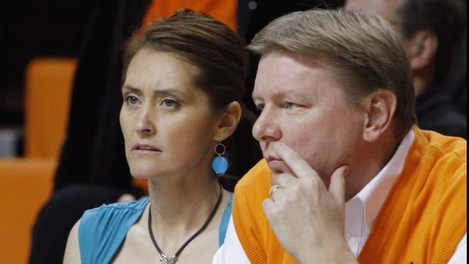Oklahoma State women's basketball coach Kurt Budke, right, and assistant Miranda Serna were on a recruiting trip to Arkansas when their plane crashed Nov. 17, 2011.