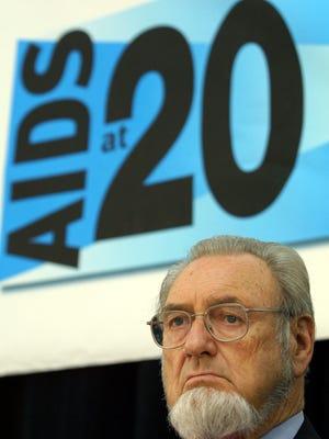Former U. S. Surgeon General C. Everett Koop listens June 5, 2001 during an AIDS policy symposium in Washington, D. C.