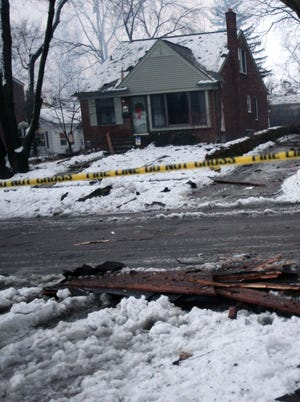 Debris landed near homes on the next block when a home in Royal Oak, Mich., exploded Feb. 27, killing one man.
