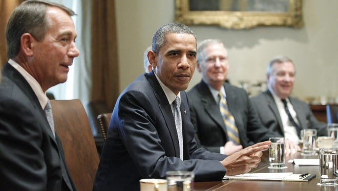 President Obama and congressional Republicans debate the debt ceiling in 2011.