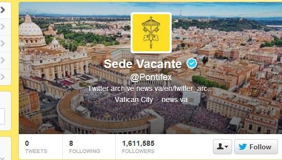 """Now that Benedict XVI is no longer pope, his tweets are gone, too. The throne of St. Peter is """"sede vacante"""" -- an empty chair -- so @pontifex followers will have to wait for a new pope."""
