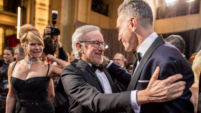Kate Capshaw,  Steven Spielberg and  Daniel Day-Lewis arrive at the 2013 Oscars.