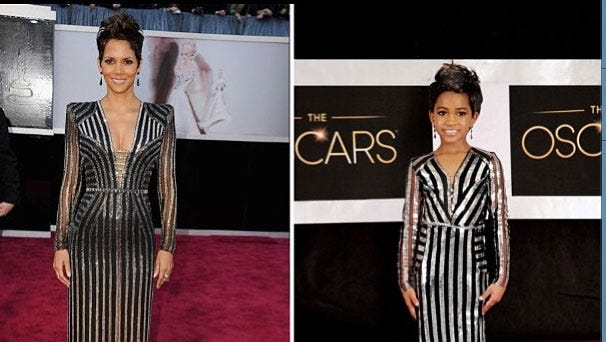 Photographer Tricia Messeroux offers a mini-me version of Halle Berry on the Oscar red carpet.