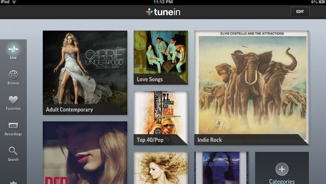 Streaming radio app TuneIn has new live tiles to show what is playing across its collection of 70,000 stations.