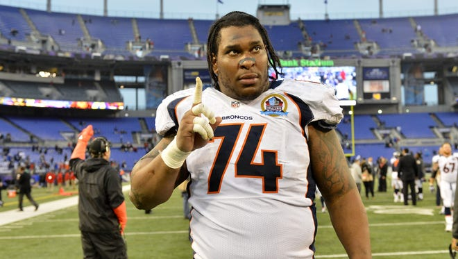 Denver Broncos tackle Orlando Franklin (74) reacts to the win over the Baltimore Ravens at M&T Bank Stadium.