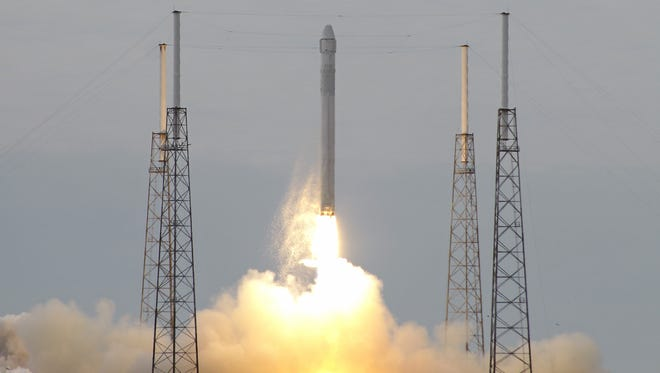 The Falcon 9 SpaceX rocket lifting off Friday morning at the Cape Canaveral Air Force Station in Florida.