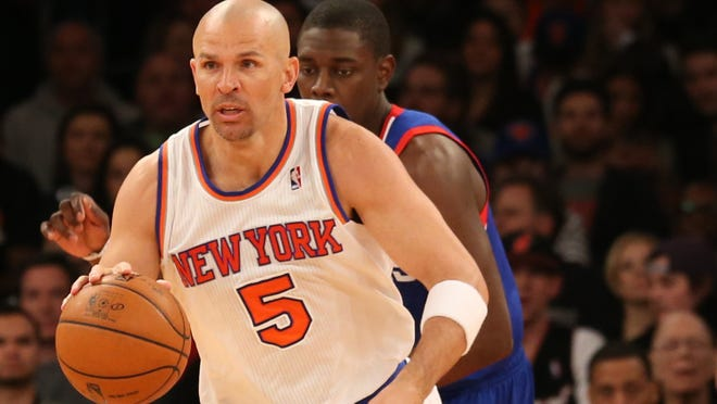 New York Knicks point guard Jason Kidd advances the ball during the third quarter against the Philadelphia 76ers at Madison Square Garden.