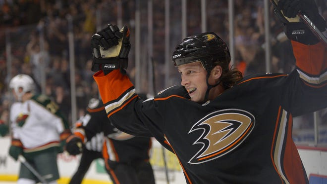 Anaheim Ducks left wing Matt Beleskey celebrates his goal during the first period against the Minnesota Wild. The Ducks beat the Wild 3-2.