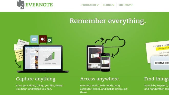Screengrab of the Evernote website.