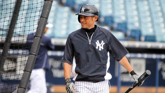 Yankees right fielder Ichiro Suzuki working out before Sautrday's spring training game against the Detroit Tigers in Florida. He was in a car accident on the way home but says he's OK.