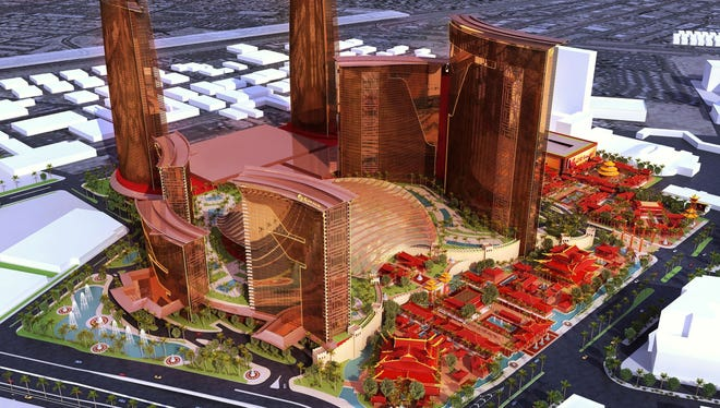 Artist's conception of Genting Group's Resorts World Las Vegas development.  Courtesy of Steelman Partners.