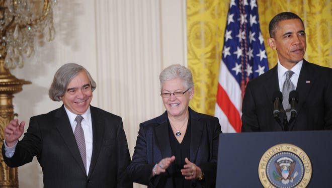 President  Obama speaks alongside MIT scientist Ernest Moniz, left, his nominee to head the Energy Department, and Gina McCarthy, nominee to run the Environmental Protection Agency, on March 4 at the White House.