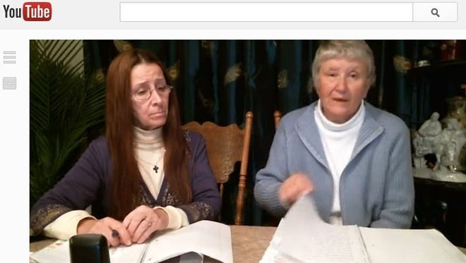 Lenore Matusiewicz, right, with sister-in-law M'Linda Kula in YouTube video