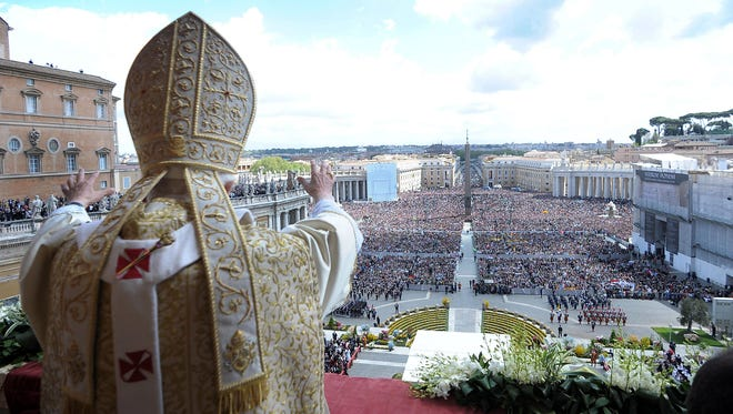Pope Benedict XVI at the end of the Easter Mass on April 8. Who will be the pope this Easter?