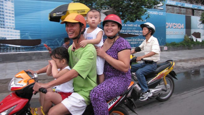 A family in Ho Chi Minh City, Vietnam.
