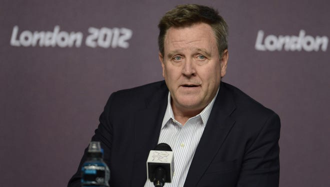 USOC chief executive officer Scott  Blackmun speaks during a USOC press conference at the London Olympics on Aug. 11, 2012. The USOC has sent letters to 35 cities to gauge interest in an Olympic bid for 2024.
