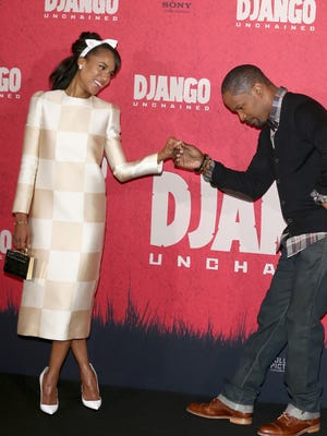 Kerry Washington and Jamie Foxx attend a 'Django Unchained' photo call in Berlin.