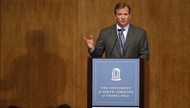 NFL Commissioner Roger Goodell addresses students at the University of North Carolina on Wednesday.