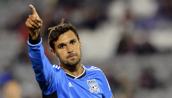 San Jose Earthquakes forward Chris Wondolowski reacts during the first half against the Colorado Rapids at Dick's Sporting Goods Park on Oct. 6, 2012.
